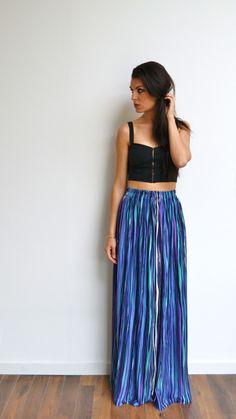 Maxi jupe longue jersey imprimé multicolore taille haute, fluide, plissée et tendance été style bohème : Jupe par menina-for-mathis