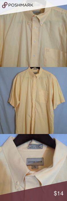 Cutter & Buck Yellow Short Sleeve Shirt Cutter & Buck yellow short sleeve button down shirt. 100% cotton. Big & Tall Size 2XT. Small spot on front pocket. Dry cleaned. Cutter & Buck Shirts Casual Button Down Shirts