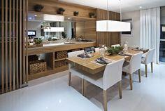 Espaço Gourmet..adorei as ripas de madeira!! (Sala empreendimento Andalus #SP)