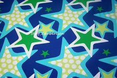ZNOK Sterne Stars Punkte Dots blau grün Bio Jersey Stoff farbenmix bunt