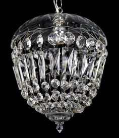 Crystal Pendant Lantern Vintage Antique Light Restored Ornate Glass Ceiling.