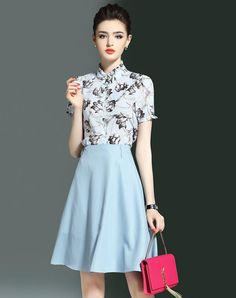#AdoreWe #VIPme (VIPSHOP Global) Womens - LONYUASH Azure Floral Top