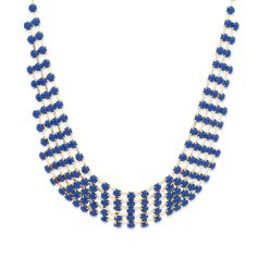 KAMILLE NECKLACE - $40  We're loving the modern design of the Kamille necklace. A vision in gold and royal blue, the Kamille offers a sleek and chic flair. Looking for something just a little different? Kamille, at your service.
