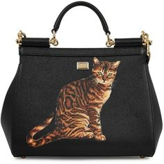 Dolce & Gabbana Sicily black cat-print leather tote (7.730 RON) ❤ liked on Polyvore featuring bags, handbags, tote bags, real leather purses, genuine leather purse, leather tote handbags, leather purses and genuine leather tote bag