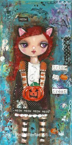 Cat Girl Halloween Original Mixed Media paining by pinkglitterfae,