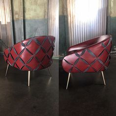 What's your Red Hot theme this Valentine's Day? Ours is this red #leather Dali chair with black leather petals, #HotRomance! #NAfurniture #valentinesday