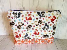 Fall Knitting Bag, Autumn Project Bag, Knitting Project Bag, Knitting Tote, Yarn bag, Yarn Tote, Zippered Project Bag, Large Knitting Bag