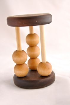 Montessori Baby Toy Wooden Counting Rattle Natural Walnut