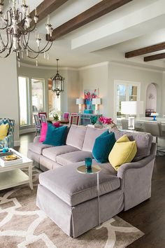 open layout living room with colorful accents