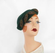 @isabellegeneva 1940s tilt hat, vintage green with beads by TheVintageHatShop on Etsy