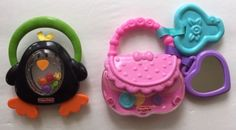 Fisher-Price-Rattles-First-Purse-Penguin-Pink-Teether-Infant-Toys-Girl-Boy-Gift