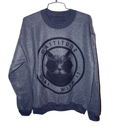 Cattitude Sweatshirt  Extra Large by burgerandfriends on Etsy, $24.00