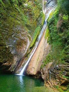 Agua Fria waterfall. Pinal de Amoles, Sierra Gorda, Queretaro, Mexico