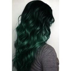 Off Black to Dark Green Mermaid Colorful Ombre Indian Remy Clip In... ❤ liked on Polyvore featuring accessories, hair accessories, black hair accessories, hair extension accessories and indian hair accessories