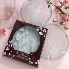 """The """"Cherry Blossoms"""" Frosted Glass Coasters are wonderful Asian wedding favors for Baltimore Brides. They also serve as wine wedding favors. Wedding Favors And Gifts, Wedding Shower Gifts, Bridal Shower Favors, Party Favors, Bride Gifts, Party Gifts, Tea Party, Cherry Blossom Theme, Cherry Blossom Wedding"""