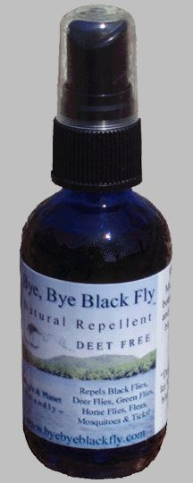 All natural, safe, effective, and pleasant to use- Bye, Bye Black Fly! Made in Maine for more than a decade. Spray on body, clothing, tents, and head ware to prevent black fly, mosquito, and tick bites.