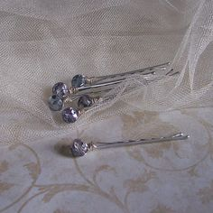 Violet Crystal Hair Pins  Set of Six  Made to Order  by GypsyBling, $12.00