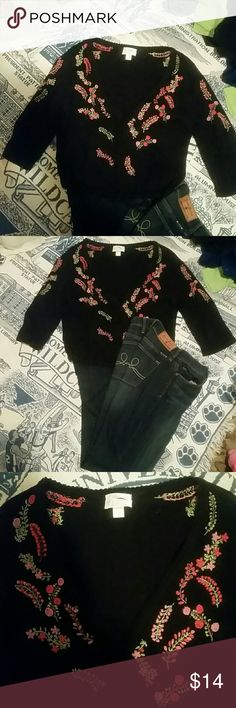 WOMEN'S SWEATER Beautiful  v neck  hand embroidered sweater has 3 buttons and draw string ... Christopher & Banks Sweaters