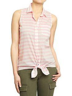 Sleeveless Tie-Top Shirt