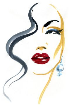 Fashion Illustration Print, Pearl Earring Fashion Print, Red Lips Illustration, Watercolor Art Print, Glamour illustration - The Effective Pictures We Offer You About modest fashion A quality picture can tell you many thing - Art And Illustration, Fashion Illustration Face, Fashion Illustrations, Watercolor Illustration, Watercolor Fashion, Fashion Painting, Watercolor Paintings, Fashion Art, Fashion Glamour