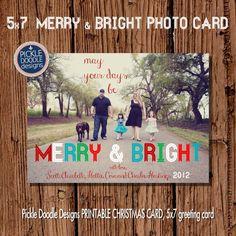Christmas Card  :  Merry & Bright Christmas Custom Photo Holiday Card on Etsy, $16.00