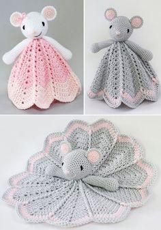 Crochet For Babies Wee Mouse Lovey - Crochet Pattern Crochet Security Blanket, Crochet Baby Blanket Beginner, Crochet Lovey, Crochet Mouse, Crochet Amigurumi, Cute Crochet, Crochet Crafts, Crochet Dolls, Baby Knitting