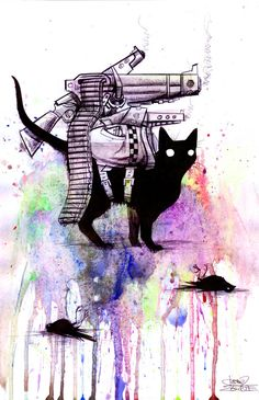"""""""supercat"""" by one of my favorite artists (Lora Zombie).  Bizarre, but intriguing work.  Check her out!"""