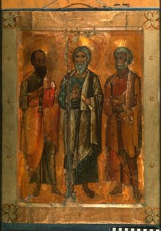 Saints Paul, Andrew, and Peter Byzantine Art, Byzantine Icons, Church Icon, Ancient Scripts, Like Icon, Saints And Sinners, Russian Icons, Art Icon, Orthodox Icons