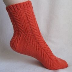 Knitting Sock Pattern, Coral Cables Sock, cable sock design with patterned heel, PDF