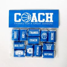 Basketball Coach Gift – Printable Basketball Mini Candy Bar Wrappers & Matching Treat Toppers – Coach Thank You Gift – End of Season Treats Basketball Trainer, Basketball Party, Basketball Coach, Basketball Gifts, Coach Appreciation Gifts, Coach Gifts, Team Gifts, Hershey Miniatures, Candy Bar Wrappers