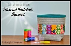 Bag Patterns To Sew, Sewing Patterns, Quilting Patterns, Quilting Projects, Sewing Projects, Fabric Basket Tutorial, Thread Catcher, Fabric Boxes, Fabric Storage