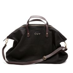 Monogrammed Canvas and Leather Weekender Bag Black (perfect for weekend trips & overnight work trips!) $120
