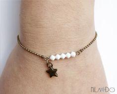 Bracelet Eléa Perles toupies Cristal Swarovski blanc par MiLaDo