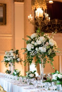 Wedding centerpieces are one of the key positions of the wedding decor. The most impressive, of course, are the floral wedding centerpieces. Tall Wedding Centerpieces, Wedding Flower Arrangements, Floral Centerpieces, Floral Arrangements, Wedding Bouquets, Trumpet Vase Centerpiece, Centerpiece Ideas, Vase Ideas, Wedding Table Flowers