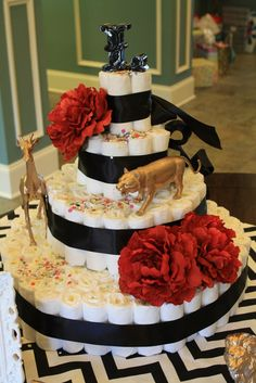 "Baby Shower ""Cake"" #babyshower #cake Instead of animals use chanel inspired or Paris theme.. High fashion maybe even a Barbie."