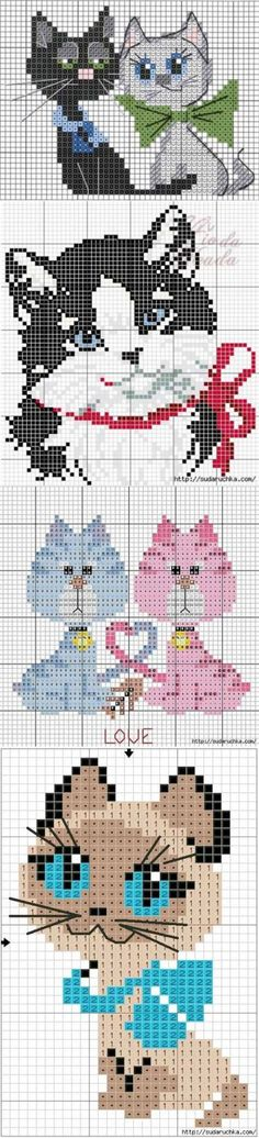 Котейки - схемы вышивки котиков   Искусница   Вышивка   Постила