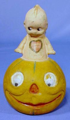 Composition Kewpie Pumpkin Candy Container NR