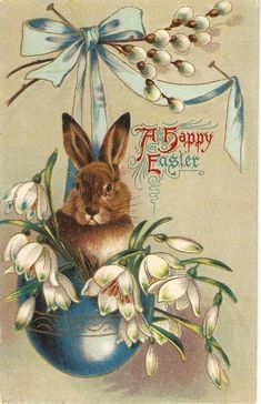 Reserved for Tricia Happy Easter Rabbit among flowers, vintage American Easter greetings postcard Easter Greeting Cards, Vintage Greeting Cards, Vintage Postcards, Easter Illustration, Easter Pictures, Easter Art, Easter Ideas, Easter Parade, Easter Holidays