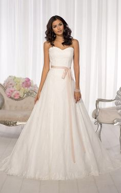 Elegant vintage-inspired Essense of Australia wedding dresses feature a true sweetheart neckline and Grosgrain ribbon sash. (Style D1574)