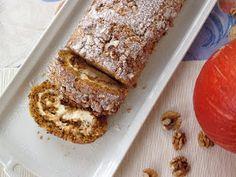 Pumpkin cake roll with cream cheese filling / Dýňová roláda s ořechy Pumpkin Roll Cake, Cream Cheese Filling, Mini Cheesecakes, Dessert Recipes, Desserts, Pavlova, Banana Bread, French Toast, Food And Drink
