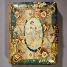Antique Victorian Celluloid Velvet Photo Album - such beautiful colors.  Unfortunately this album has no photographs inside.