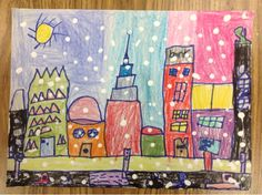 1st grade winter cityscape...a great website with ideas for kid's art
