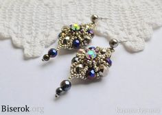 Free DIY tut - Beautiful simple earrings made of beads and beads, suitable for beginners, scheme, detailed master-class, step by step photos of weaving