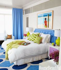 Dazzling Coastal Design Ideas by Amanda Nisbet OMG love the color of the rug with the head board, curtin