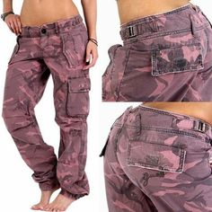 GUESS DAMEN CARGO CAMOUFLAGE ARMY HOSE JEANS PANTS 27 PINK UVP 129€ DESIGNER