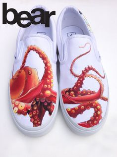 Custom Painted Octopus Vans Shoes - Hand Painted Octopus and Koi Custom Vans Shoes, Custom Painted Shoes, Painted Vans, Painted Canvas Shoes, Painted Sneakers, Painted Clothes, Hand Painted Shoes, Vans Shoes Fashion, Koi