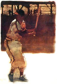 St. Louis Cardnials Stan Musial. Oil painting by Bernie Fuchs.