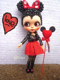 OOAK benutzerdefinierte Blythe Puppe - Bubble Minnie Mouse