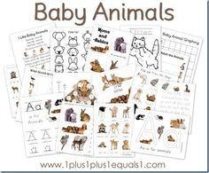 Free Baby Animal Printable Pack.  Toddlers, Preschoolers, Kindergartners!