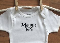 Harry Potter Onesie, Muggle Born Onesie, Muggle Born, Harry Potter Baby MORE COLORS. $13.99, via Etsy.